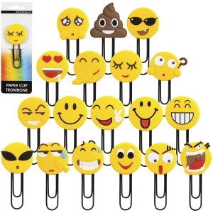 Merangue 24 Pack Emoji Paper Clips, Show your mood with Emojis!