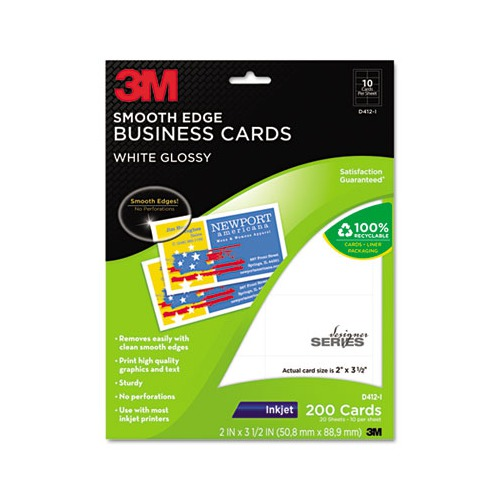 3m inkjet glossy business cards mmmd412i shoplet 3m inkjet glossy business cards reheart Images