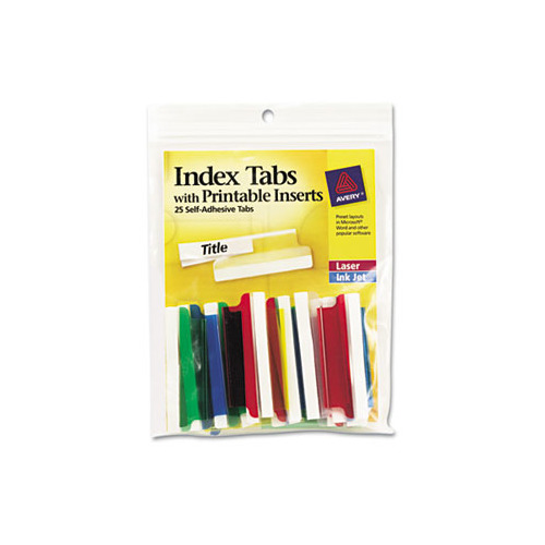 graphic about Printable Self Adhesive Tabs titled Avery Insertable Index Tabs with Printable Inserts, 2, Diversified Tab, 25/Pack