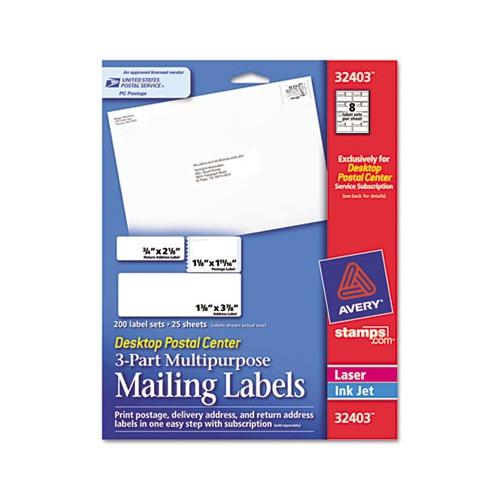 avery desktop postal center 3 part mailing labels ave32403