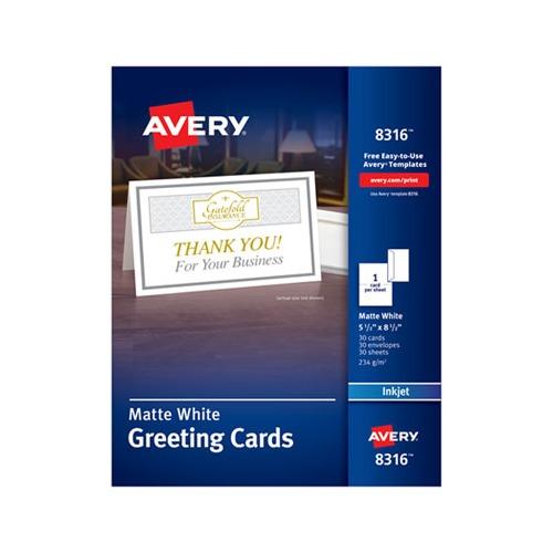 avery half  inkjet  5 1  2 x 8 1  2  matte white  30  box w  envelopes