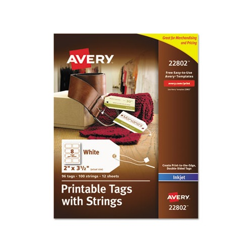 photograph regarding Printable Tags With Strings named Avery Printable Rectangular Tags with Strings, 2 x 3 1/2, Matte White, 96/Pack