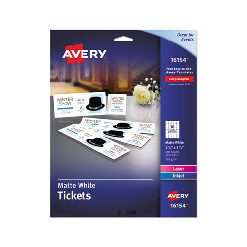 picture relating to Printable Tickets With Tear Away Stubs referred to as Avery Printable Tickets w/Tear-Absent Stubs, 97 Vivid, 65lb, 8.5 x 11, White, 10 Tickets/Sheet, 20 Sheets/Pack