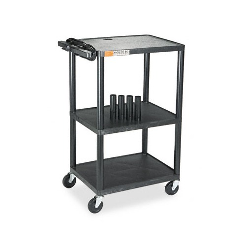 apollo plastic av utility cart with outlets - Av Cart