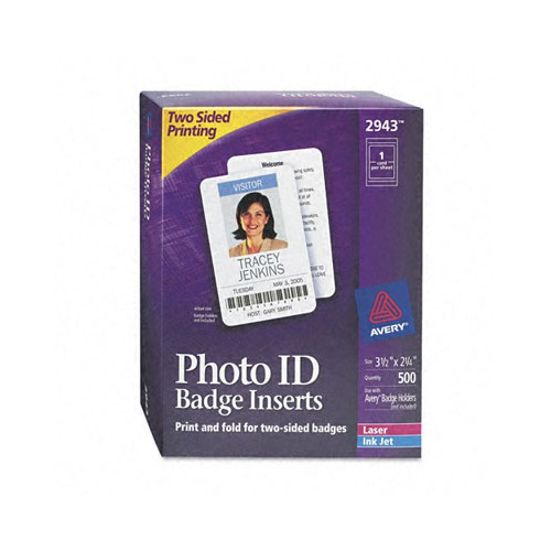 Avery Photo ID Badge Inserts and Holders, 2-1/4 x 3, White
