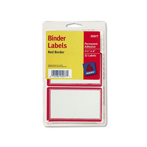 avery red border self adhesive labels for binder cover spine