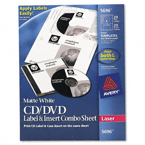 avery cd dvd jewel case laser label insert combo sheets ave5696