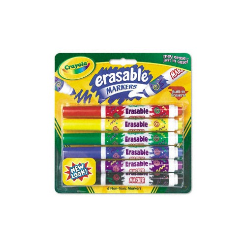 Crayola Erasable Art Markers, 6 Assorted Classic Color