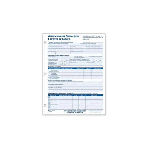 Employment Application Forms | Adams Business Forms Adams Bilingual Employment Application Forms