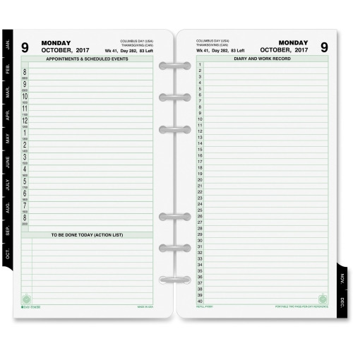 Daytimer'S Inc. Day-Timer 2 Pages Daily Planner Refill - Dtm10801
