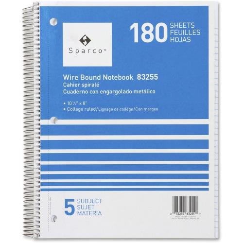 Sparco Wirebound College Ruled Notebooks, 180 Sheets - Wire Bound - College  Ruled - Unruled - 8