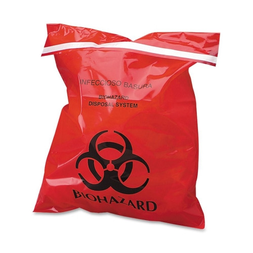 CareTek Stick-On Biohazard Infectious Red Waste Bags, 9