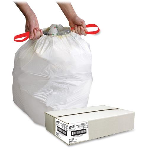 genuine joe white flex drawstring trash liners small size 13 gal 24 width x length. Black Bedroom Furniture Sets. Home Design Ideas