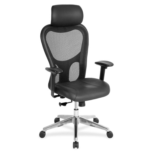 Lorell High Back Executive Chair Leather Black Seat