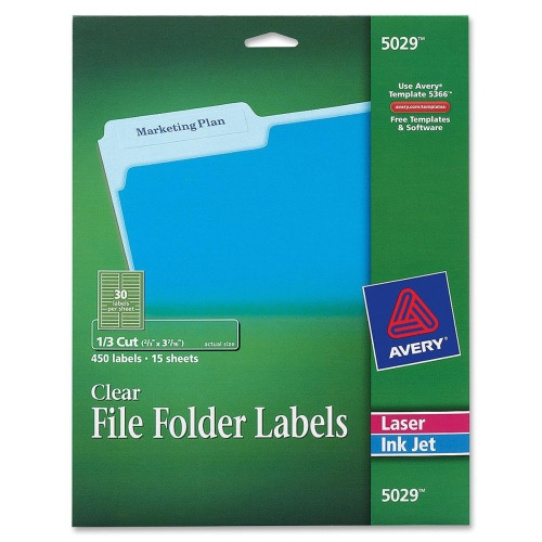 Avery® Permanent Clear File Folder Labels, Permanent Adhesive - 21/32