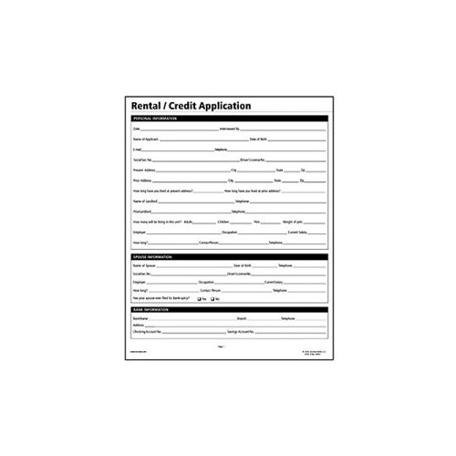 Credit Application For Rental  Ex