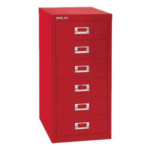 Bisley 6 Drawer Steel Multidrawer Storage Cabinet, Red